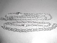 Antique Silver fine link chain x 2. 45cm long with lobster clasp